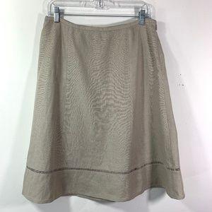 Talbots A Line Skirt Beige Irish Linen Career